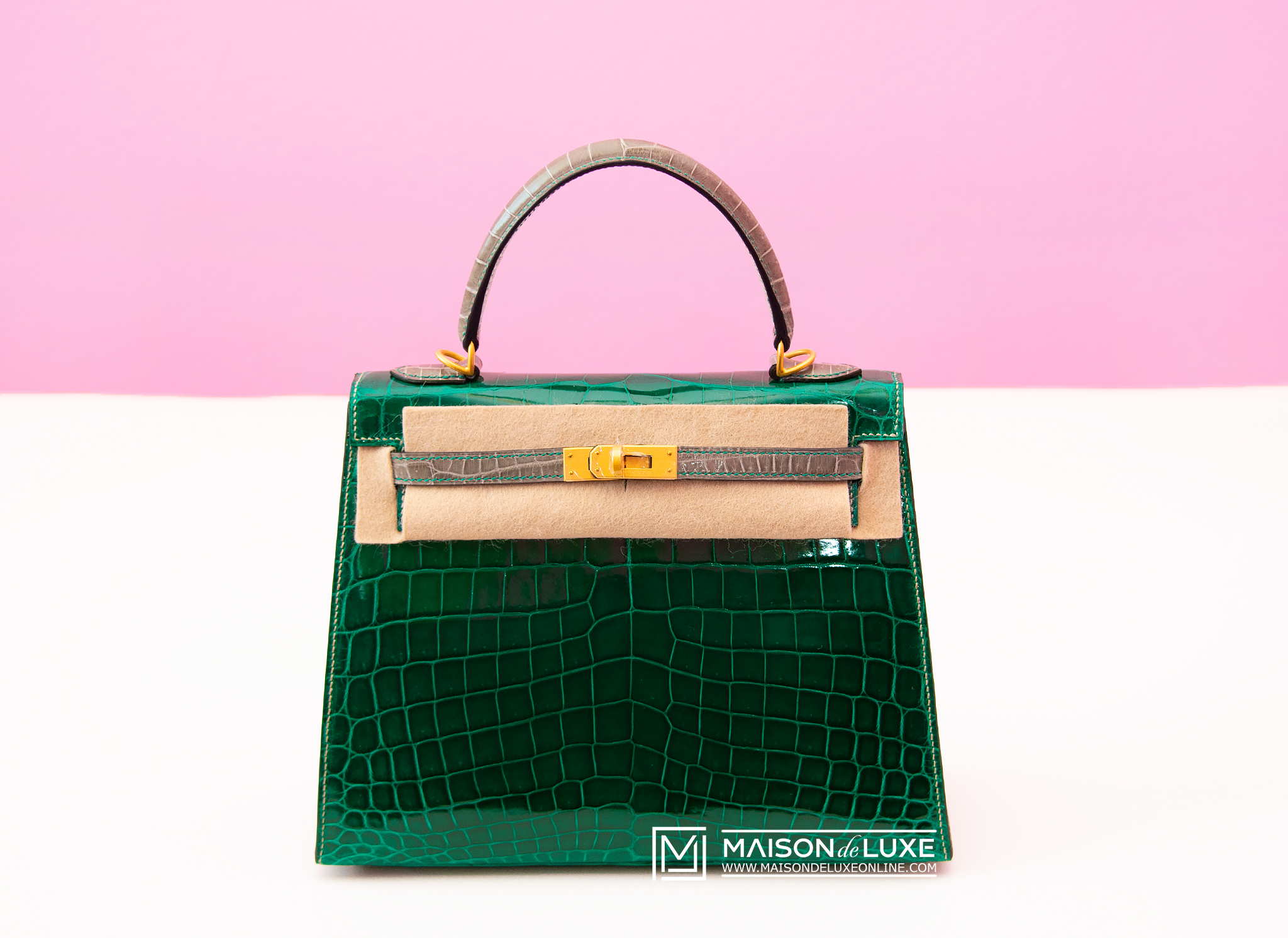 35c562630 Details about NEW HERMES HSS VERT EMERAUDE EMERALD GRIS TOURTERELLE SELLIER  KELLY 25 CROCODILE