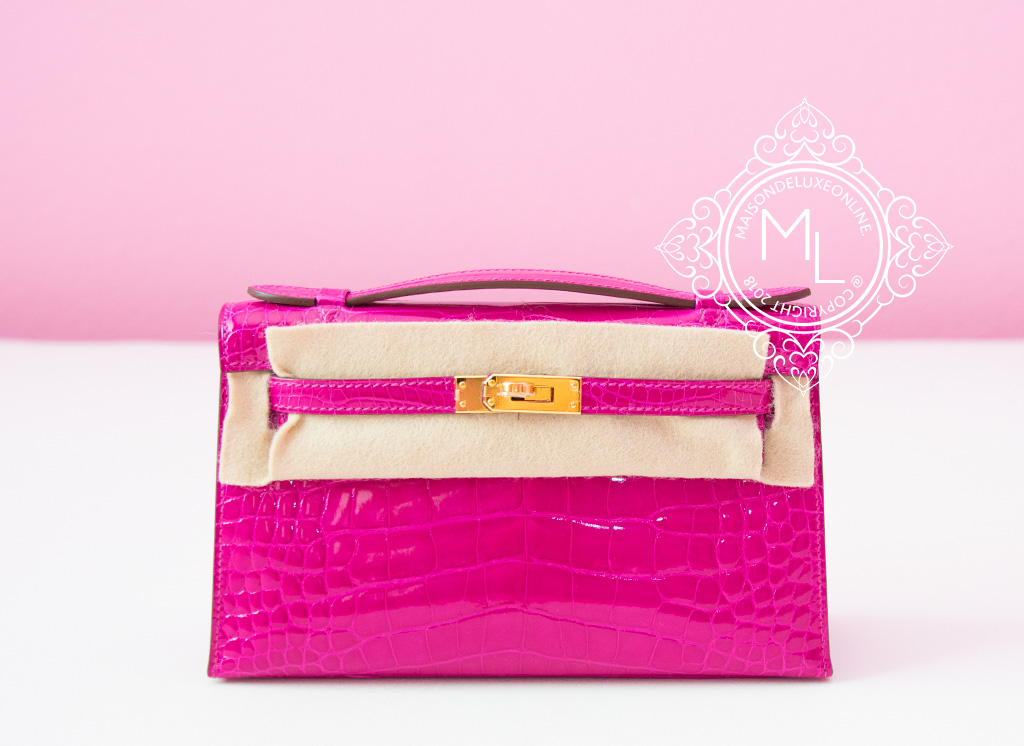 7ed4e20e7a2 Details about NEW HERMES ROSE SHEHERAZADE PINK CROCODILE KELLY POCHETTE  MINI CLUTCH BAG BIRKIN